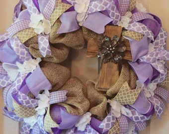 Lavender and Burlap Mesh Wreath with Wooden Cross and Hydrangeas; Handmade Wreath; Everyday Floral Wreath; Spring Summer Wreath; Door Decor