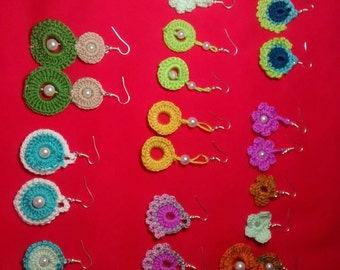 Colorful crochet earrings