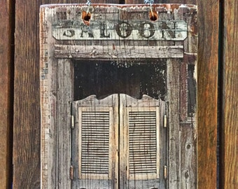 """Rustic, Handcrafted, Repurposed Timber """"Saloon"""" Shabby Chic Wall Hanging"""