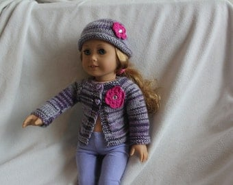 Purple multicolour sweater and hat set for AG dolls