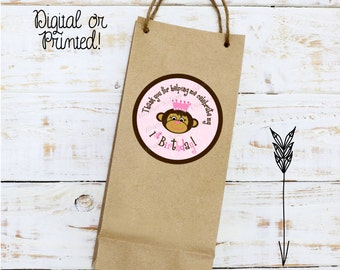 Princess Monkey Favor Tags or Stickers