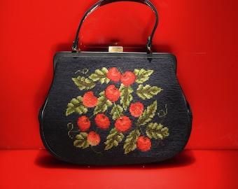 VTG 40's Cherry Motif Carpetbag w/ Wallet