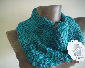 Teal Lacy Knitted Fashion Cowl