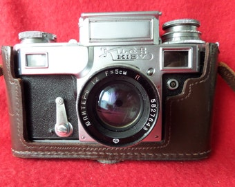 Soviet Vintage Photo  Camera Kiev 4 with Jupiter-8 Lens and Original Camera case, F=5 cm, Camera from USSR, Contax copy