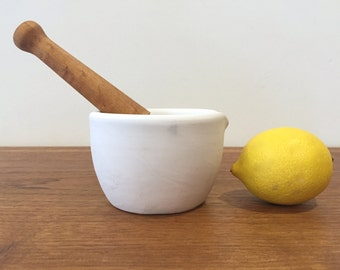 Vintage Coors Apothecary Mortar and Pestle | Porcelain and Wood
