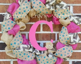 "18"" Pink, Natural & Gray Chevron Burlap Initial Wreath"