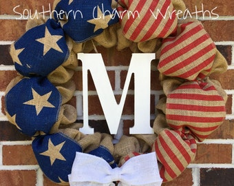 SALE*** American Flag Patriotic Burlap Wreath with Initial