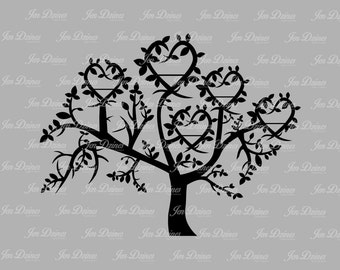Family Tree 5 Names SVG DXF EPS, family tree files, family tree design, tree svg, family tree, cutting files for cricut silhouette, svg file