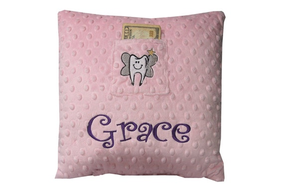 Tooth Fairy Girls Pillow (Name of your choice embroidered on Pillow) Grace Style