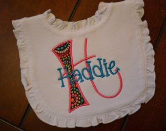 Initial Personalized Ruffle Bib, Baby Gift