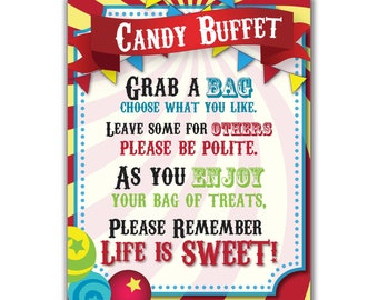 Circus Candy Buffet Sign, Carnival Party, Sweets Table Sign