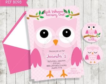 Owls invitation girl,Birthday Invitation Party, girl invite with owl, Printable Custom Personalized Digital Free Tags, Invitación Buho rosa