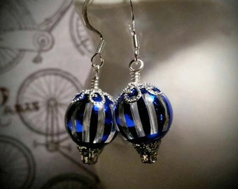 Steampunk balloon earrings, Blue and silver balloon earrings, Hot air balloon earrings, Victorian Balloon earrings, Statement earrings