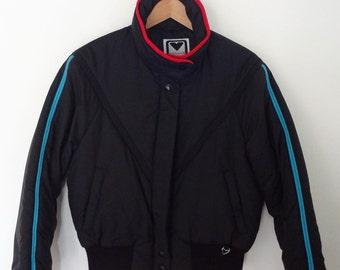Vintage Obermeyer Ski Jacket Ladies Size 12/Medium Eighties Puffy Jacket Black Red Blue 80s