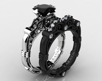 Caravaggio 14K Black and White Gold 1.25 Ct Princess Black and White Diamond Engagement Ring Wedding Band Set R623PS-14KWBGDBD