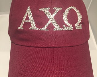 Blinged Sorority Hat-Made to Order-Choose your hat color, Greek letters and color of authentic Swarovski Crystals-- Shipping Included