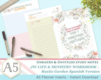 SPANISH CLM Meeting Workbook companion notes - Rustic Garden A5 - Printable inserts - Undated Untitled