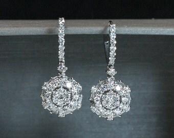 1.44CT 18K White Gold Round Baguette Diamond Dangle Drop Circle Earring