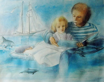 Father and daughter lread together and dream of adventure watercolored drawing 50x65