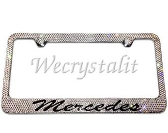 Mercedes bling etsy for Mercedes benz license plate frame rhinestones