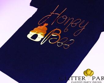 The honey bee shirt - Metallic gold girl bumble bee shirt