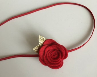 Single rose flower headband. Baby girl, childs hair accessories.