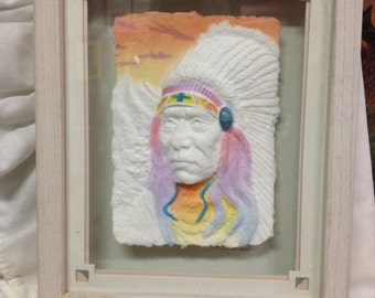 Framed Hand Cast Paper Artwork Indian Chief By Wess