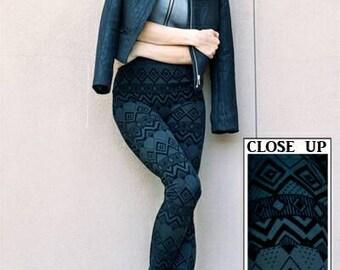 Flocked black tribal leggings