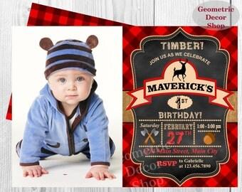 Lumberjack Birthday Party Invite First Birthday Wilderness Red Buffalo Plaid Lumber Jack Invitation Rustic Photo Photograph one BDLJ18