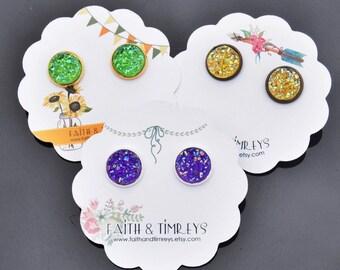 Mardi Gras Earrings, Mardi Gras, Mardi Grass Studs, Mardi Gras Jewelry, Fat Tuesday, Mardi Gras Accessories, Druzy Earrings, Mardi Gras
