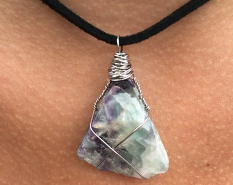 Wrapped Rough Fluorite Pendant