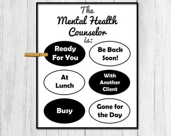 Mental Health Counselor Print Digital Download Mental Health Counselor Printable Art Gift for Counselor Gift for Mental Health Specialist