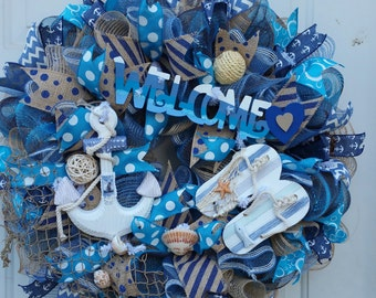 Beach themed wreath/Made to order