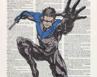 DC comics Nightwing on dictionary page print