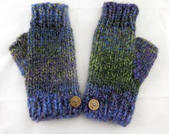 Fingerless Mittens Ladies Hand Knitted Chunky Fingerless Gloves Mittens ( Autumn Winter Spring Green Blue Purple Multicoloured )