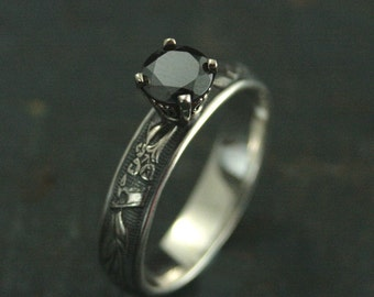 Sterling Silver and 14K White Gold Black Lily Ring--Black Pyrite Engagement Ring--Dark Stone Engagement--Engraved Band--Floral Patterned
