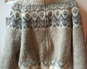 SALE Vintage Hilda Iceland Icelandic Wool fair isle zipper bomber sweater coat jacket