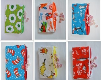 Set of 5/10-Dr. Seuss-Snack Bags- Reusable Snack Bags- Zippered Washable Snack Bags-Party favors-Snack Bags