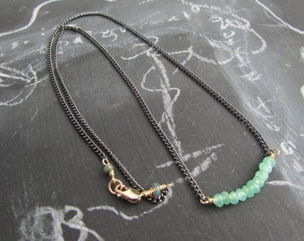 Chrysoprase Gunmetal Chain Layering Necklace