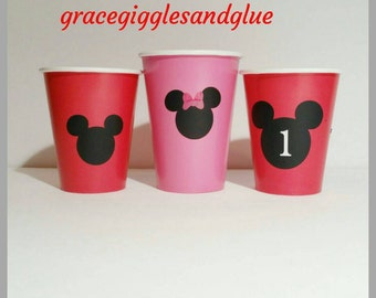 12 Personalized Mickey Mouse Cups