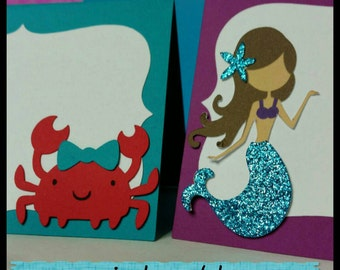 10 Mermaid themed Buffet Cards or place cards, Under the sea name cards