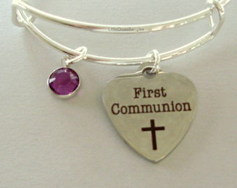 GIRLS First Communion Heart BANGLE -  Adjustable Bangle W/ Swarovski Birthstone Crystal Drop - Religious Charm - Girls Gift FC1