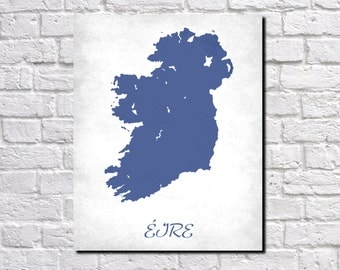 Ireland Map Print Map of Ireland Country Map Poster Irish Gift Home Decor Wall Art