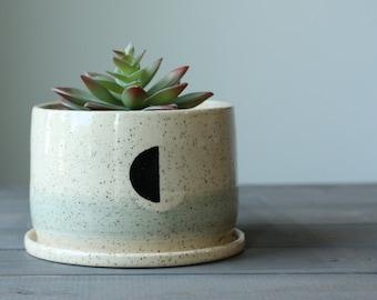 half moon planter, clay planter, pottery plant pot, ceramic planter, ceramic plant pot