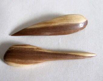 Rustic Wooden Hair Pins, 2 Organic Wood Hair Clips