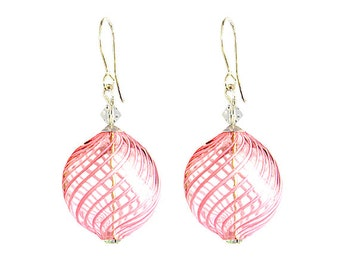 Murano Hand Blown Glass Earrings by Mystery of Venice 'Summer Breeze' Pink