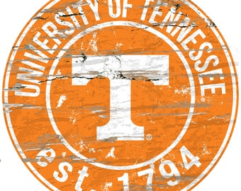 """NCAA University of Tennessee Round Distressed Established Wood Sign 24"""" Diameter"""