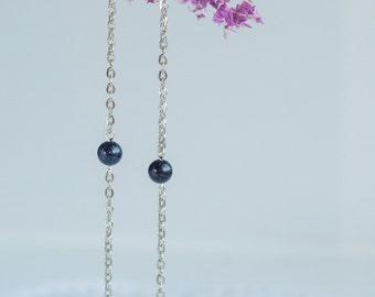 Super long earrings, Very long earrings, Long silver chain earrings, Long chain earrings, Long earrings with chain
