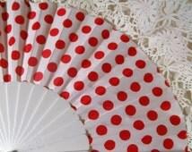 Vintage Fan. Folding Fan. Red and White Spotted Fan. Plastic and Fabric Fan. Polka Dot Fan. Spotty Fan.