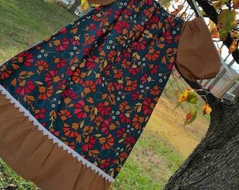 Fall Peasant Dress, Thanksgiving Dress, Girls Fall Dress, Pumpkin Patch Outfit, Back to School Dress, Little Girls Outfits, Peasant Dress